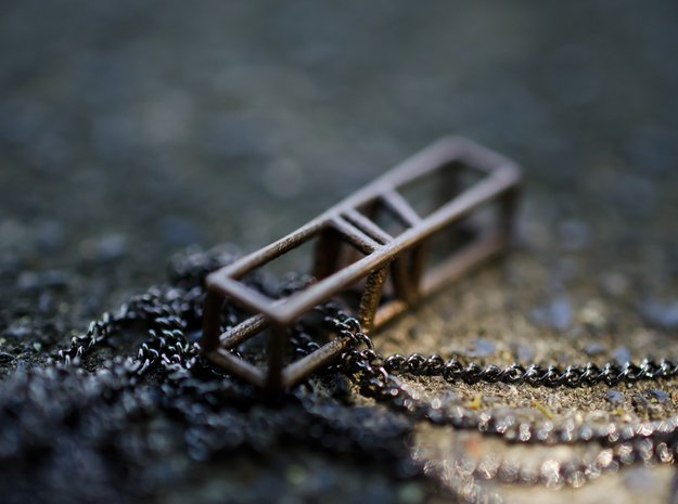 Wireframe bar pendant in Matte Bronzed-Silver Steel