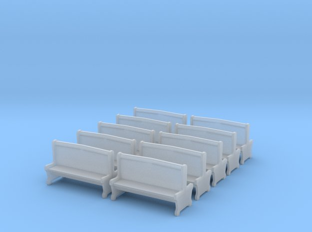Bench type A - H0 ( 1:87 scale )10 Pcs set  in Smooth Fine Detail Plastic