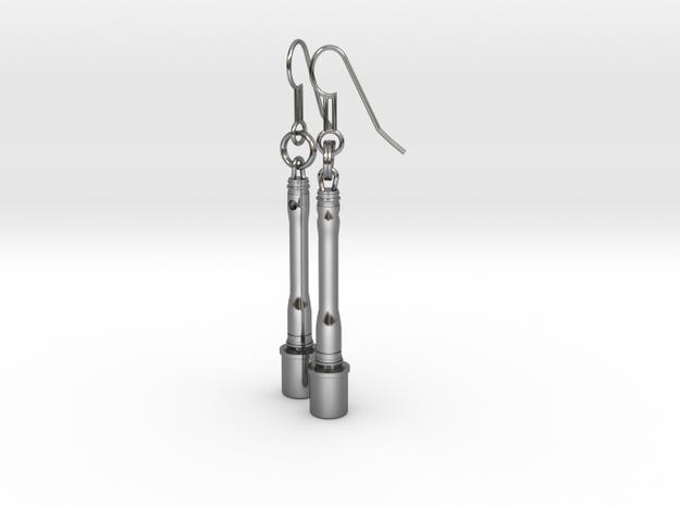 German hand granade - Earrings in Fine Detail Polished Silver