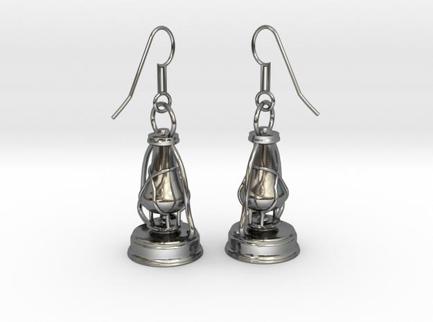 kerosene lamp - earrings in Fine Detail Polished Silver