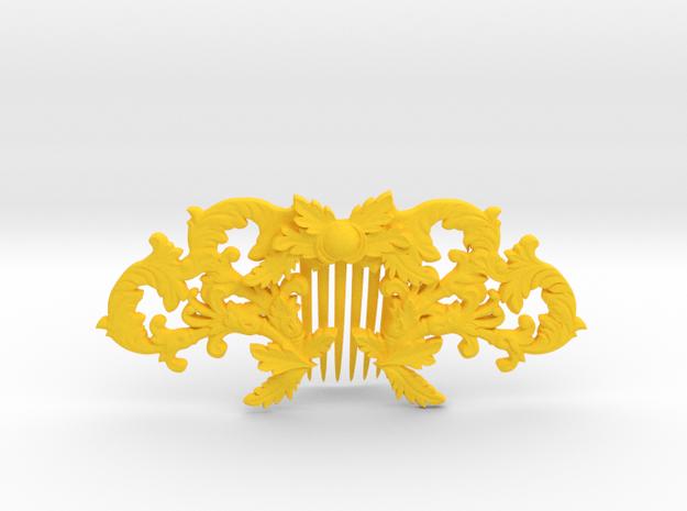 Hair Comb in Yellow Processed Versatile Plastic