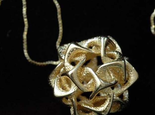 Icosahedron I, pendant in Polished Gold Steel