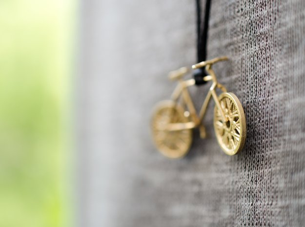 Bicycle brass pendant with moving wheels! in Natural Brass (Interlocking Parts)