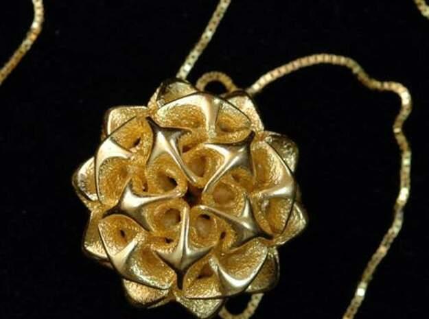 Rhombic triacontahedron II, pendant in White Natural Versatile Plastic