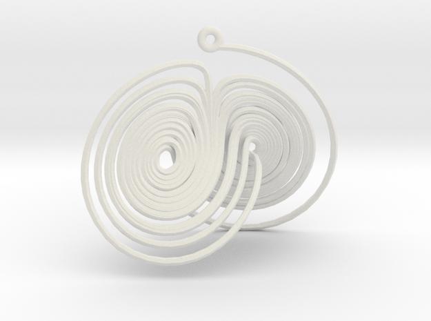 Lorenz Attractor System Necklace in White Natural Versatile Plastic