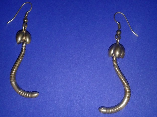 """d. """"Life of a worm"""" Part 4 - """"Baby worm"""" earrings in Natural Brass"""
