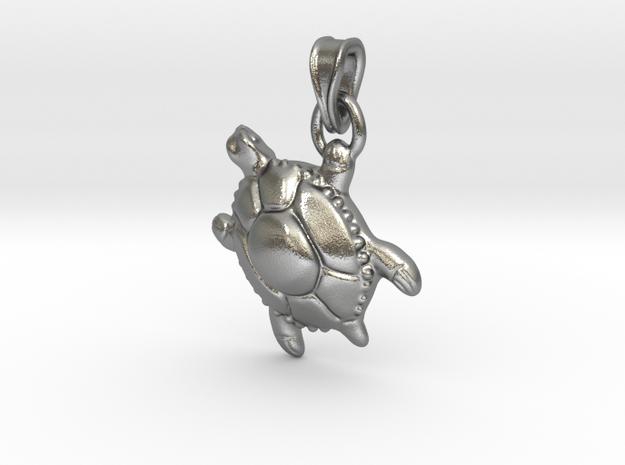 Sea Turtle Pendant in Natural Silver (Interlocking Parts)