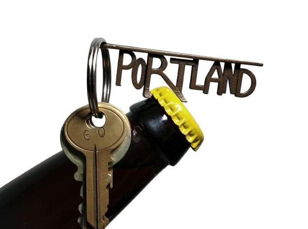 PORTLAND Bottle Opener Keychain in Polished Bronze Steel