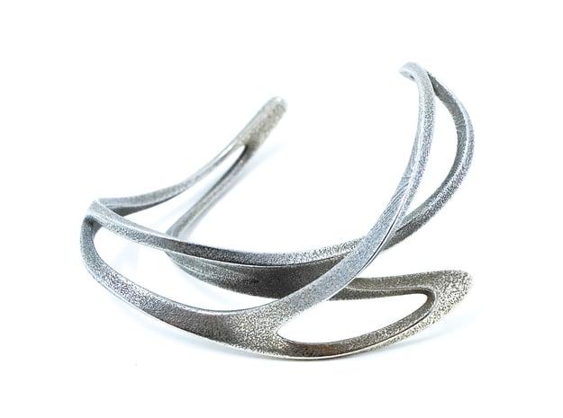 Mahuika Cuff in Polished Bronzed Silver Steel: Extra Small