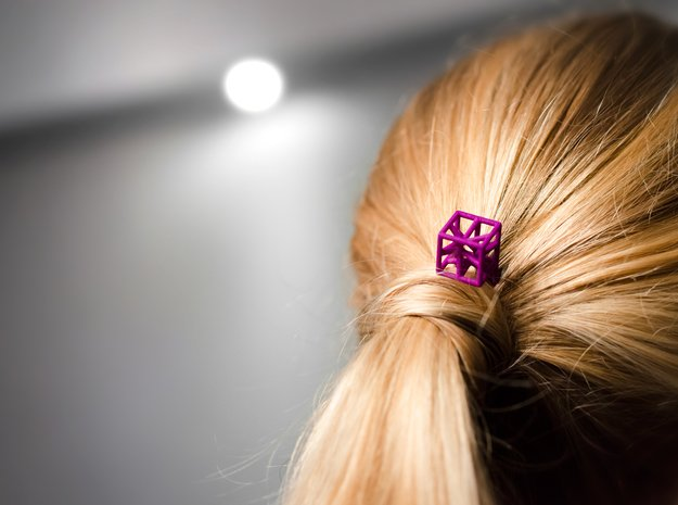 Hairpin with stylized cube. in Purple Processed Versatile Plastic