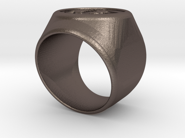Riga signet Ring 16.5mm diameter in Polished Bronzed Silver Steel