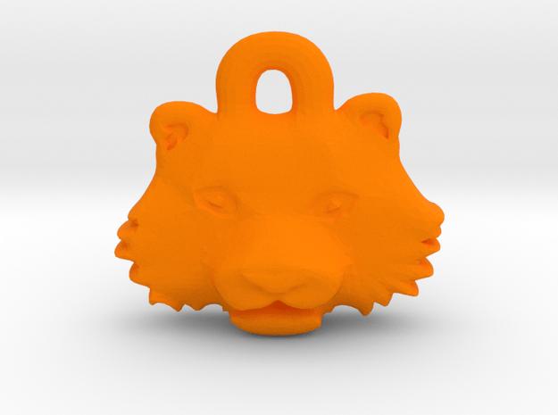 Tiger Face Pendant Charm in Orange Processed Versatile Plastic