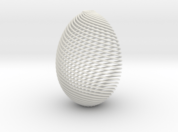 Designer Egg in White Natural Versatile Plastic