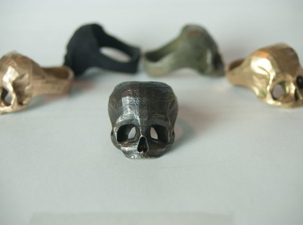 Black Metal Skull Ring by Bits to Atoms in Matte Black Steel