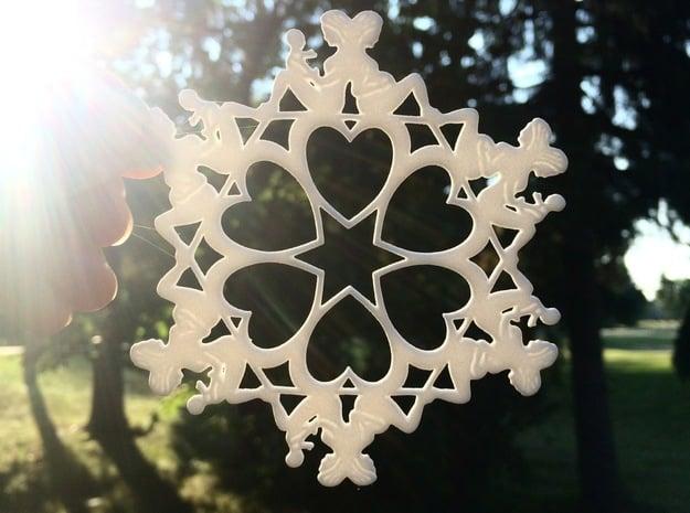 Mothers Snowflake Ornament in White Natural Versatile Plastic