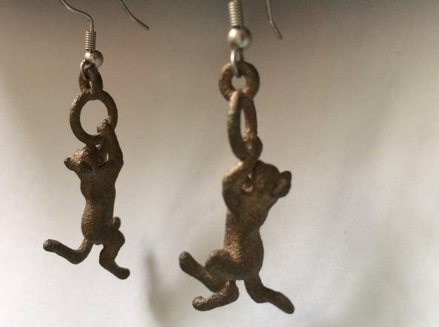 Hanging Cat Earrings in Natural Bronze