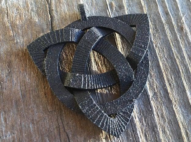 Medium Triquetra Pendant in Matte Black Steel