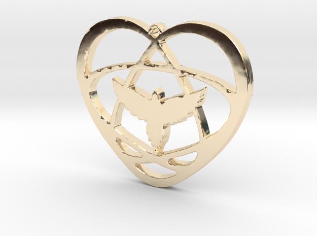 Atom Star Heart Bird 40x3mm Pendant in 14k Gold Plated Brass