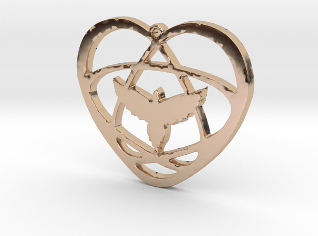 Atom Star Heart Bird 32x2mm Pendant in 14k Rose Gold Plated Brass