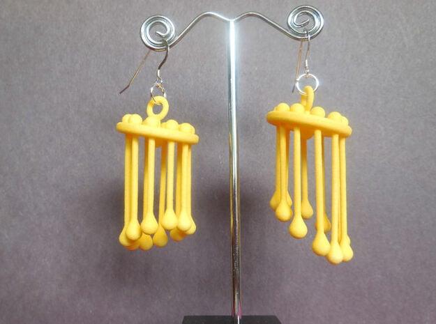 Dangles  - A Pair of Earrings in Yellow Processed Versatile Plastic