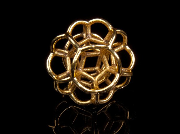 Soap Bubble Dodecahedron in Polished Brass: Small