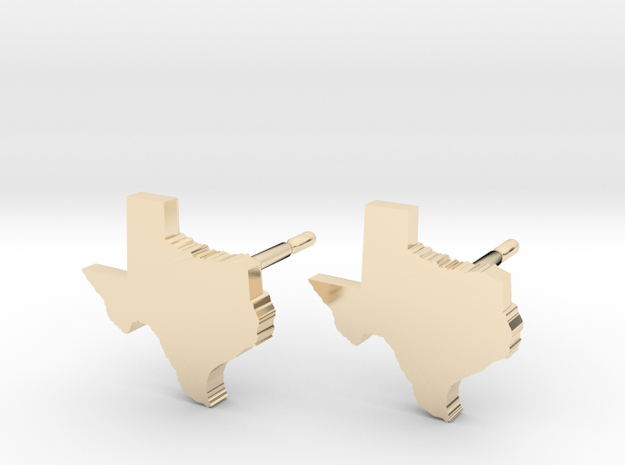 Texas State Earrings, post style in 14k Gold Plated Brass