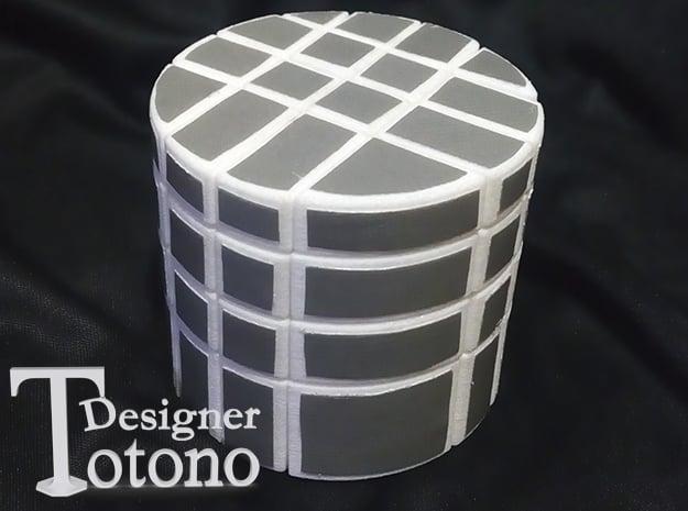 "4x4x4 Bump Barrel ""Cube"" in White Natural Versatile Plastic"