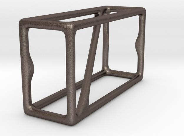 Pythagoras 3D -bottle opener in Polished Bronzed Silver Steel