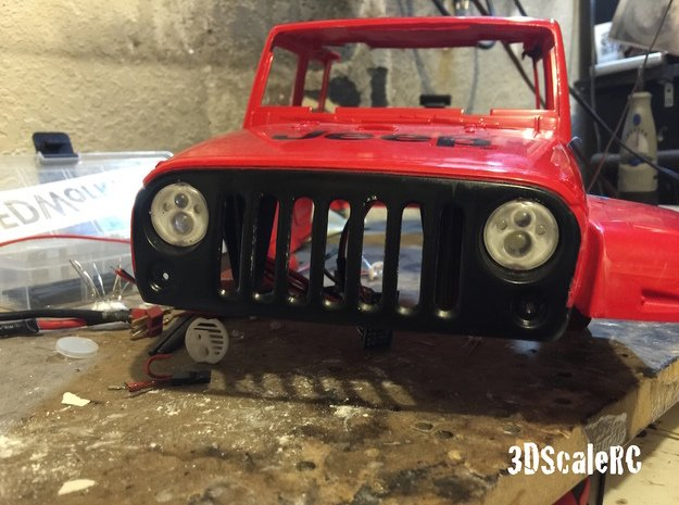 New Bright RC - JEEP JK - Scale LED Headlight - A in Black Natural Versatile Plastic