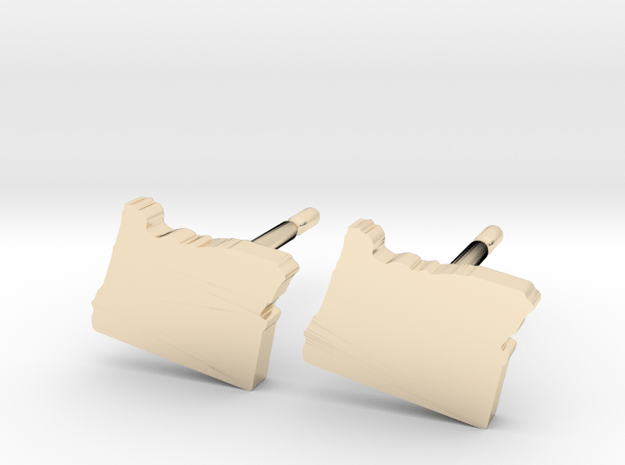 Oregon State Earrings, post style in 14k Gold Plated Brass