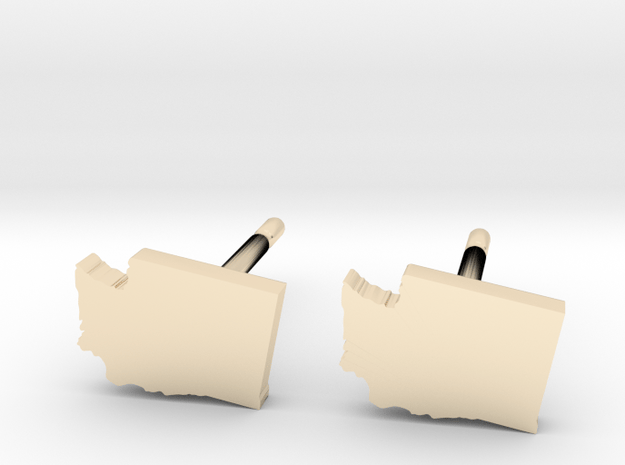 Washington State Earrings, post style in 14k Gold Plated Brass