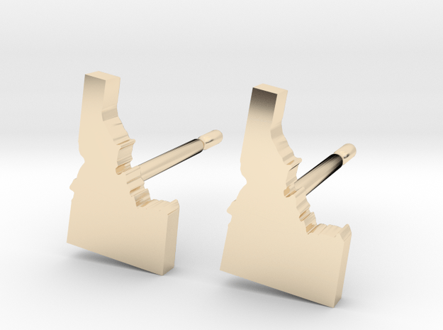 Idaho State Earrings, post style in 14k Gold Plated Brass