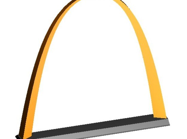 """Inverted Weighted Catenary Arch 3"""" in White Natural Versatile Plastic"""