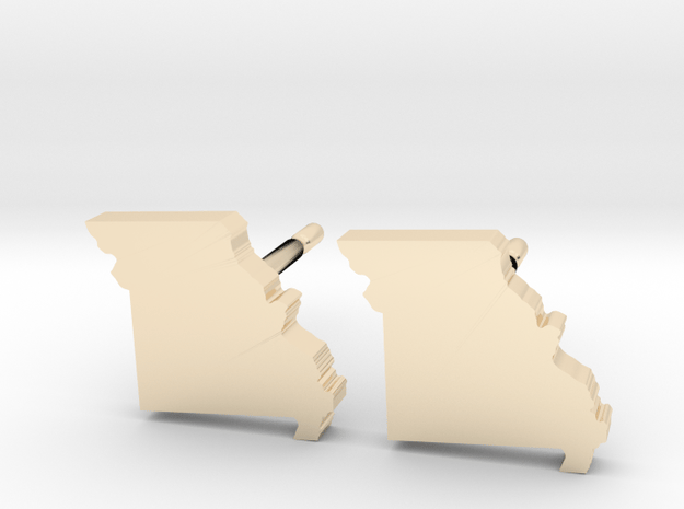 Missouri State Earrings, post style in 14k Gold Plated Brass