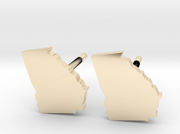 Georgia State Earrings, post style in 14k Gold Plated Brass