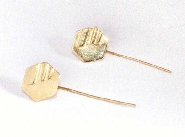 Hexagon Earstud in Polished Brass