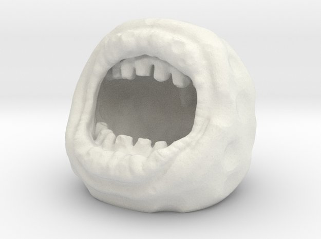 Mutant Mouth Moon Golf Ball Creature in White Natural Versatile Plastic