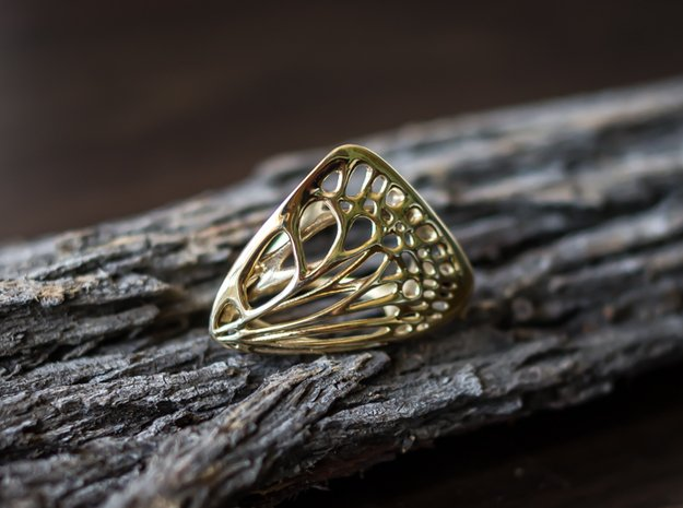 Butterfly Ring [ Size 5 ] in Polished Brass