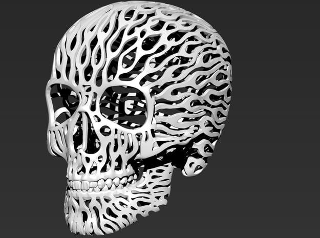 Skull Filagree - Flames 8cm in White Natural Versatile Plastic