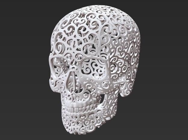 Skull Filagree - Hearts - 8cm in White Natural Versatile Plastic