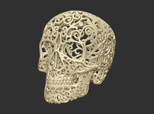 Skull Filagree  P2 - 8cm in White Natural Versatile Plastic