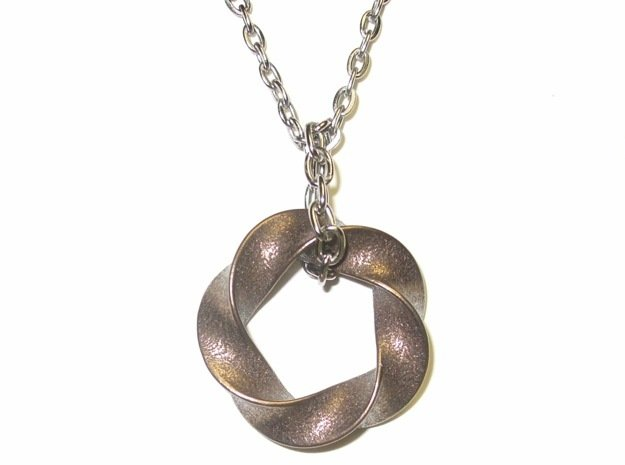 Python 3-5 Torus Knot Pendant in Polished Bronze Steel