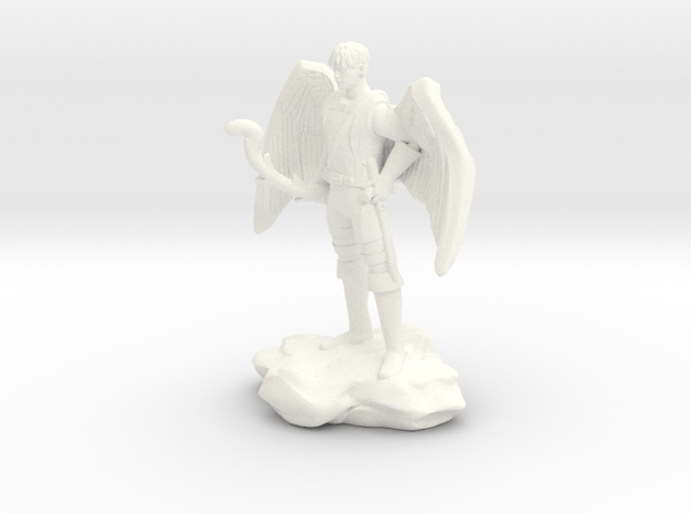 Winged Half-celestial with bow and sword in White Processed Versatile Plastic