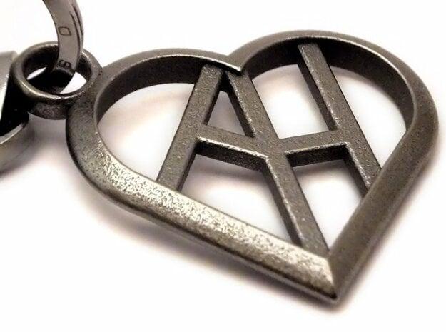 Heart of love keychain [customizable] in Polished Nickel Steel