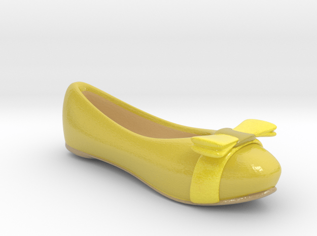 Yellow Flat Shoe / Pumps in Glossy Full Color Sandstone