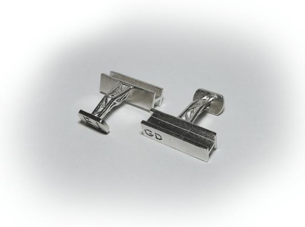 Steel Beam Cufflinks in Natural Silver