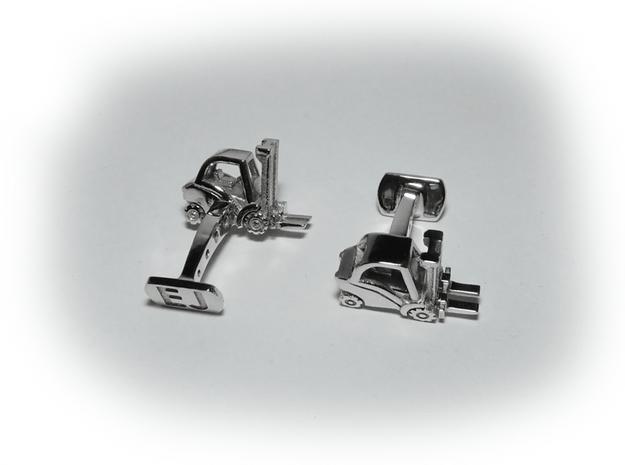 Forklift Cufflinks in Rhodium Plated Brass