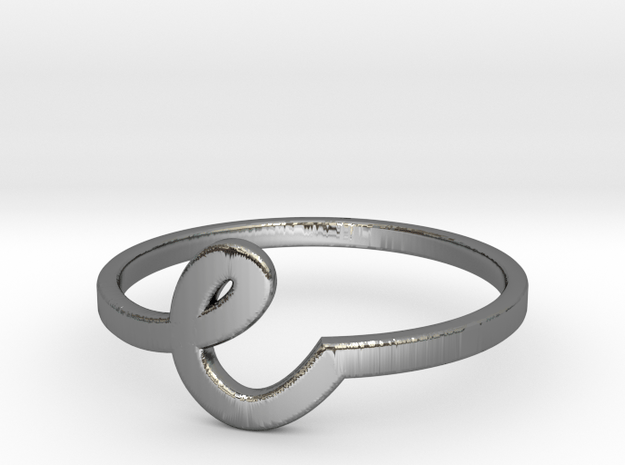 Whimsical Letter Ring (e) in Fine Detail Polished Silver: 7 / 54
