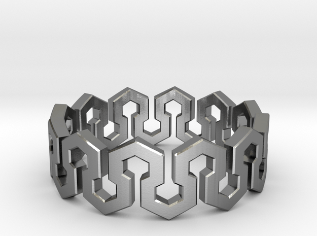 Endless Hexagon Ring in Polished Silver: 7 / 54