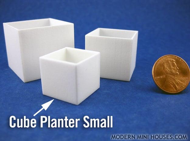 Cube Planter Small 1:12 scale in White Processed Versatile Plastic